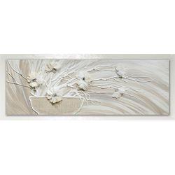 Quadro Salvadori vaso con fiori bianchi 50x150