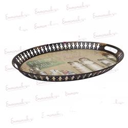 Vassoio ovale in metallo nero con decoro fresh milk. artFL-59/A