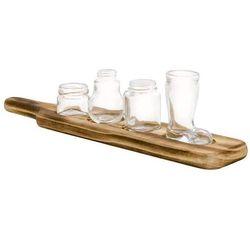 Gli shottini set 4 pz. in vetro con vassoio legno - Brandani-emmanueleregali-bombonieraperfetta