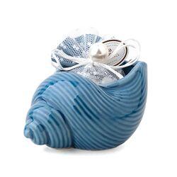 26895-Ciotola conchiglia porcellana blu con sacchetto - Hervit-emmanueleregali-bombonieraperfetta
