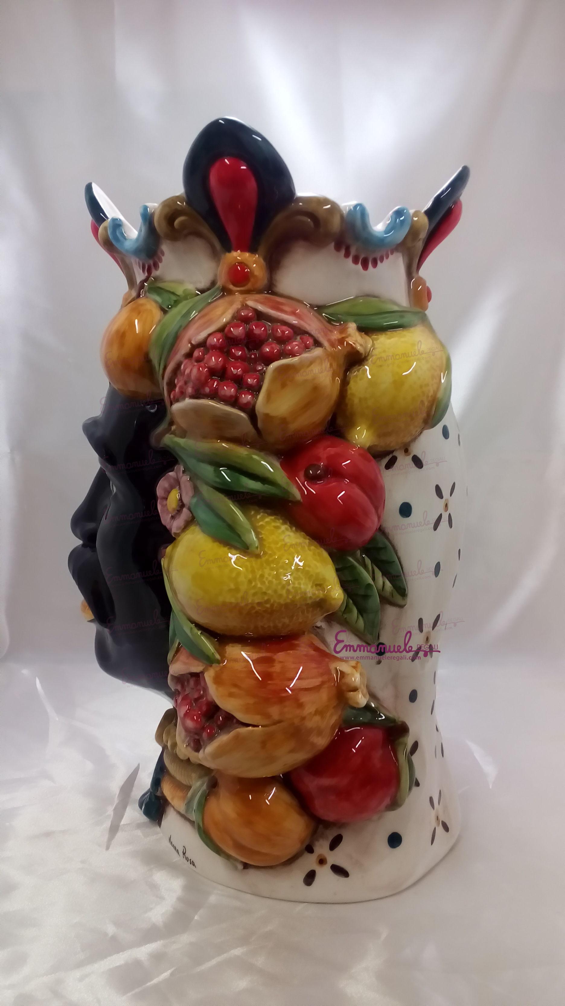 """Teste di moro in ceramica siciliana """"IL MORO dec frutta"""" o """" LA FANCIULLA dec frutta"""" art TESTE MORO37"""